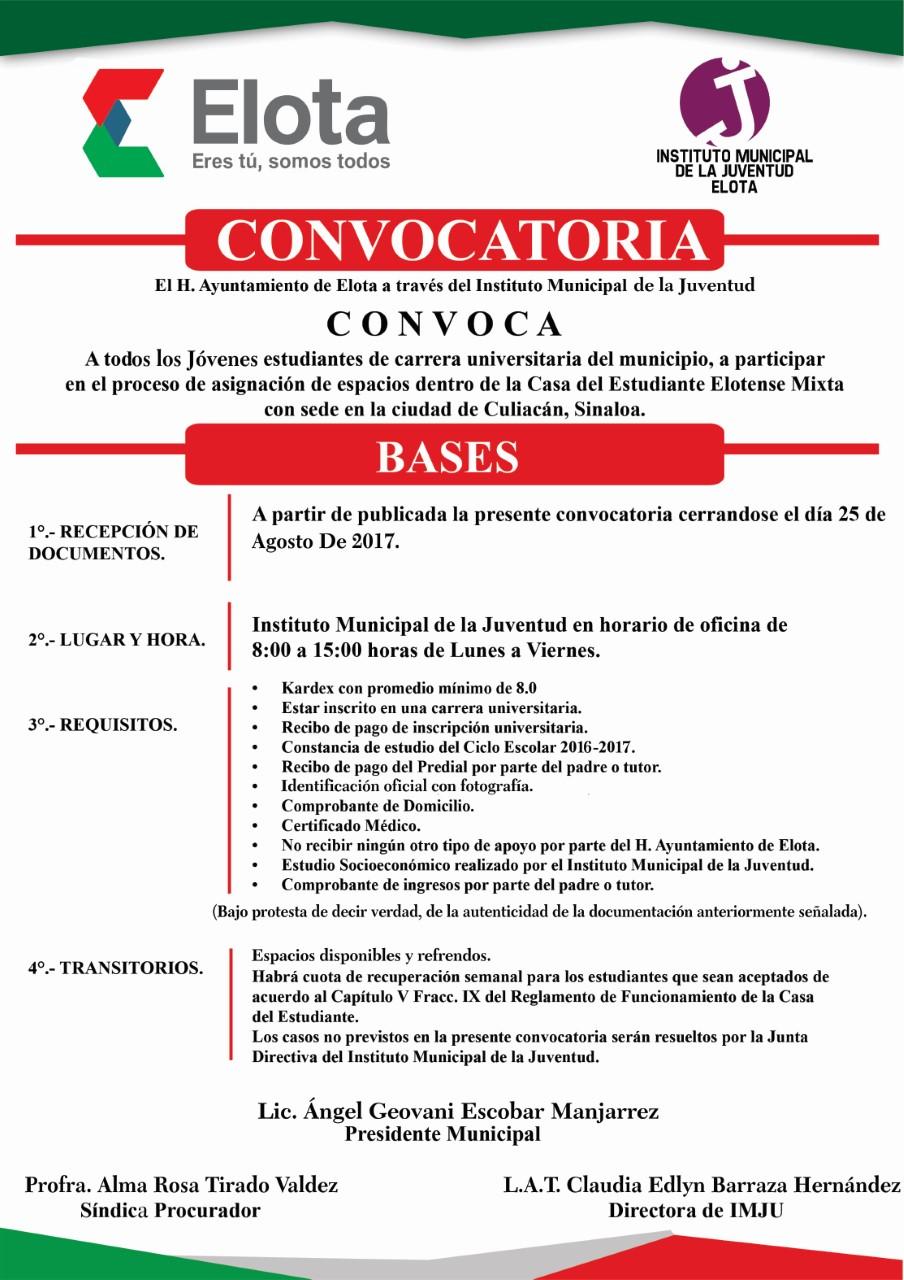 CONVOCATORIA CASA ESTUDIANTE